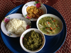 Clockwise: rice, egg omelet, soup with egg, spiced pea puree