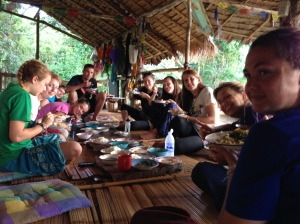 Eating with the other volunteers at Base Hut.