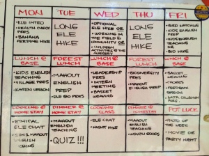 The weekly schedule. There was a lot to do every day.