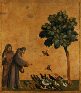"St. Francis of Assisi, the ""patron saint"" of animals. Painting by Giotto di Bondone (c.1266-1337) / Louvre, Paris, France / The Bridgeman Art Library"