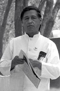 Cesar Chavez. From Wikipedia http://en.wikipedia.org/wiki/File:Cesar_chavez_crop2.jpg by Joel Levine and user Mangostar